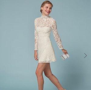 Reformation mini dress white lace wedding